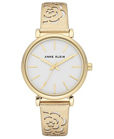 Anne Klein Women's Gold-Tone Metallic Leather Strap Watch 36mm