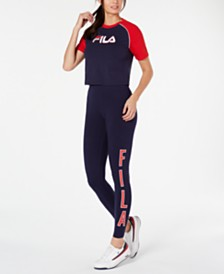 Fila Colorblocked Cropped T-Shirt & Logo Leggings