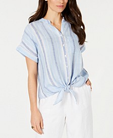 Linen Striped Tie Top, Created for Macy's
