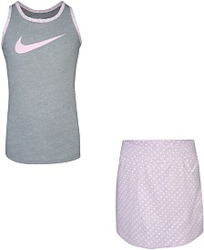 Nike Little Girls 2-Pc. Crossover Dot Tank Top & Scooter Skirt Set