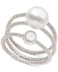 2-Pc. Set Cultured Freshwater Pearl (8mm) & White Topaz (1/3 ct. t.w.) Stack Rings in Sterling Silver