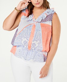 Tommy Hilfiger Plus Size Ruffled Peplum Top, Created for Macy's