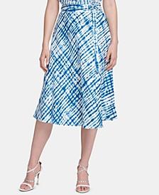 Linen Belted Midi Skirt