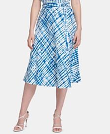 DKNY Linen Belted Midi Skirt