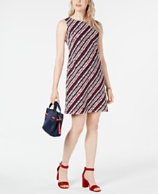 Tommy Hilfiger Striped Lace Dress, Created for Macy's
