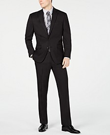 Men's Classic-Fit Stretch Black Pindot Suit, Created for Macy's