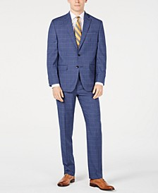 Men's Classic-Fit Stretch Windowpane Sharkskin Suit, Created for Macy's