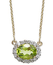 "Peridot (1-1/2 ct. t.w.) & Diamond (1/4 ct. t.w.) 18"" Pendant Necklace in 14k Gold"