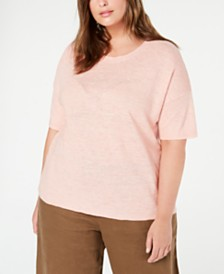 Eileen Fisher Plus Size Organic Linen T-Shirt