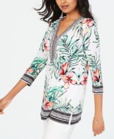 JM Collection Petite Embellished Printed Tunic, Created for Macys
