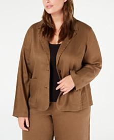 Eileen Fisher Plus Size Organic Linen Blazer