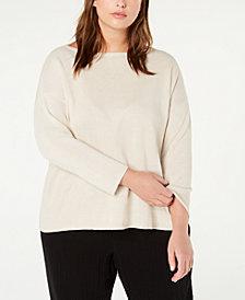 Eileen Fisher Plus Size Boat Neck Organic Linen & Organic Cotton Top