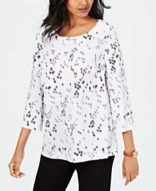 JM Collection Crinkle Texture Printed Top, Created for Macy's