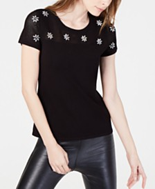 I.N.C. Embellished Short-Sleeve Sweater, Created for Macy's