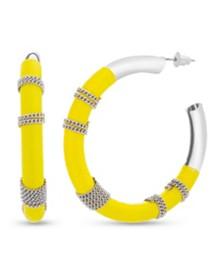 Kensie Women's Polished Wrapped Chain Cord Medium Hoop Earrings