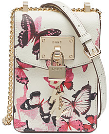 DKNY Elissa North-South Butterfly Print Crossbody, Created for Macy's