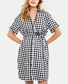 Maternity Gingham Shirtdress