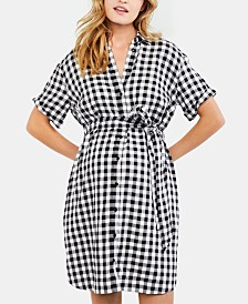 A Pea In The Pod Maternity Gingham Shirtdress