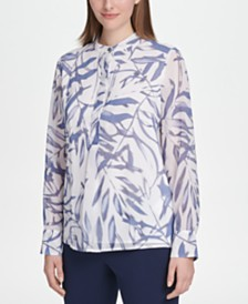 DKNY Printed Mock-Neck Shirt