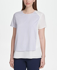 DKNY Striped & Solid Crewneck Top