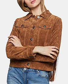 Suede Fringe-Trim Jacket