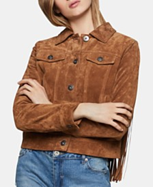 BCBGeneration Suede Fringe-Trim Jacket