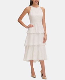 Tommy Hilfiger Embroidered Tiered Midi Dress, Created for Macy's