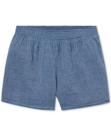 Polo Ralph Lauren Big Girls Smocked Cotton Chambray Shorts