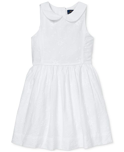 Polo Ralph Lauren Toddler Girls Floral Embroidered Cotton Dress