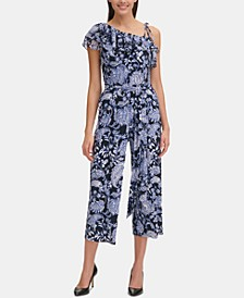 Paisley Floral One-Shoulder Jumpsuit