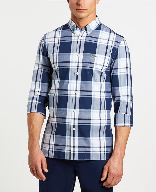30132e58bf1fef Lacoste Men s Slim-Fit Long Sleeve Poplin Plaid Shirt   Reviews ...
