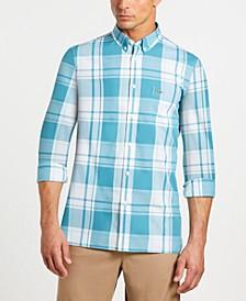 Men's Slim-Fit Long Sleeve Poplin Plaid Shirt