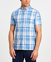 a1fbbaebf2c99 Lacoste Men s Slim-Fit Short Sleeve Poplin Plaid Shirt