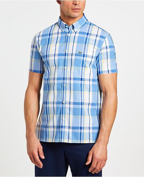 a0aff0b2 Men's Slim-Fit Short Sleeve Poplin Plaid Shirt