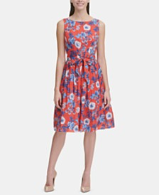 Tommy Hilfiger Belted Floral Fit & Flare Dress