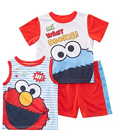 AME Toddler Boys 3-Pc. Sesame Street Graphic Pajamas Set