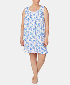 Eileen West Plus Size Lace-Trim Pointelle Knit Chemise Nightgown