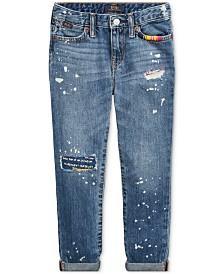 Polo Ralph Lauren Little Girls Distressed Slim Cotton Boyfriend Jeans