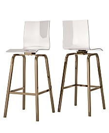 Moore Clear Acrylic Swivel High Back Bar Stools Set Of 2
