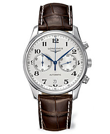 Longines Men's Swiss Automatic Chronograph Master Brown Alligator Leather Strap Watch 40mm L26294783