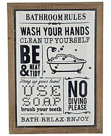 Farmhouse Rectangular Bathroom Rules Wall Decor