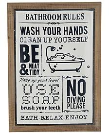 Rosemary Lane Farmhouse Rectangular Bathroom Rules Wall Decor