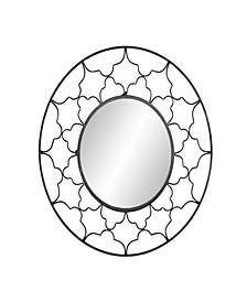 Modern Round Iron Framed Wall Mirror