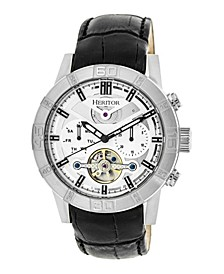 Automatic Genuine Black Leather Watch 44mm