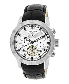 Heritor Automatic Hamilton Genuine Black Leather Watch 44mm