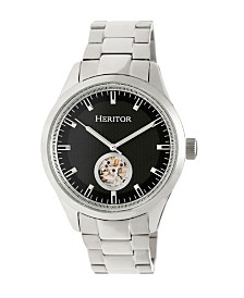 Heritor Automatic Crew Black Dial, Stainless Steel Watch 46mm