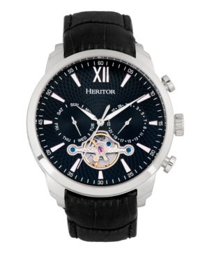 Heritor Automatic Arthur Silver Case, Black Dial, Genuine Black Leather Watch 45mm