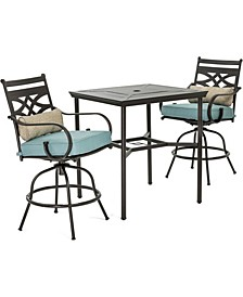 "Montclair 3-Piece High-Dining Set with 2 Swivel Chairs and a 33"" Square Table - 36.2"" x 33"" x 87.9"""