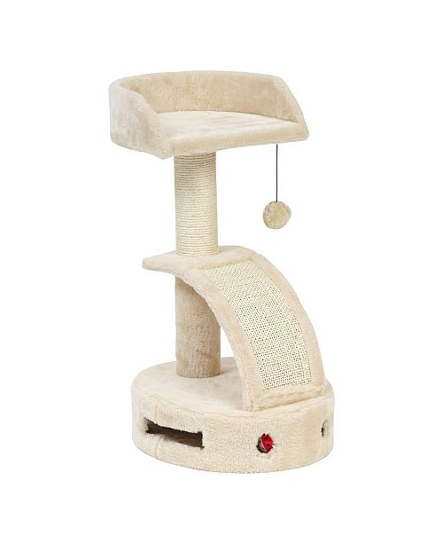 IRIS USA Plush Cat Perch with Dangling Toy, Scratch Pad, and Game