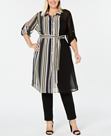Calvin Klein Plus Size Belted Tunic